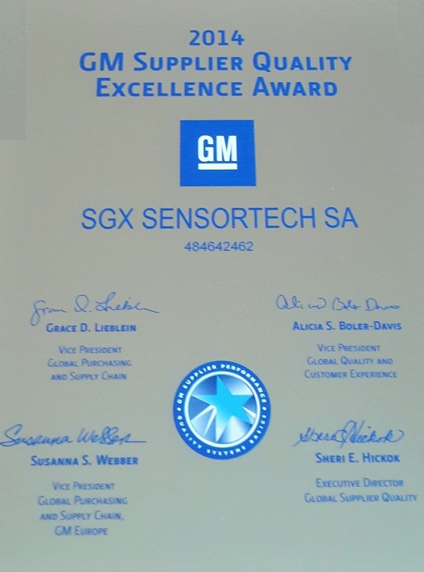 Sgx Sensortech Achieves Gm Supplier Excellence Award For The Third Year Running